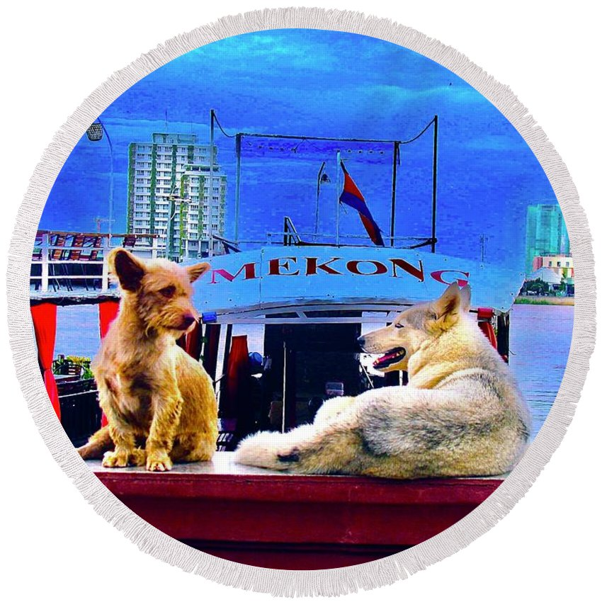 Dogs And The Mekong River - Round Beach Towel - Art Beauty Fashion