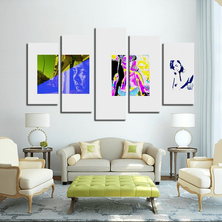 Modern Art Woman - 5 Panels Canvas Prints Wall Art for Wall Decorations - Art Beauty Fashion