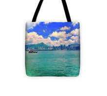 Hong Kong Style Skyline and Ocean - Tote Bag for the city or the beach - Art Beauty Fashion