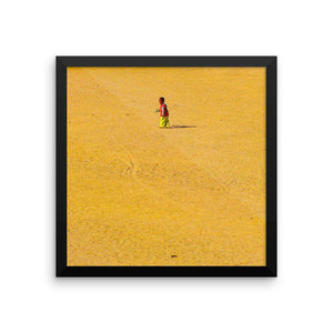 Bedouin Child in the desert sand is a framed photo paper poster photography - Art Beauty Fashion