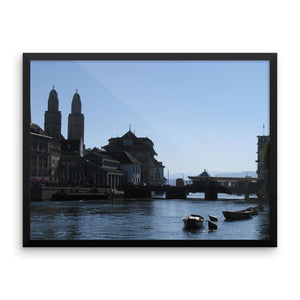 Beautiful Zurich Lake/Limmat in summer Photography - Framed photo paper poster - Art Beauty Fashion