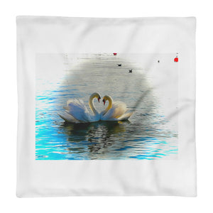 Swan Love - Square Pillow Case only - Art Beauty Fashion