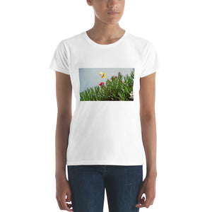 Romantic Women's short sleeve Designer t-shirt with butterflies in love - Art Beauty Fashion