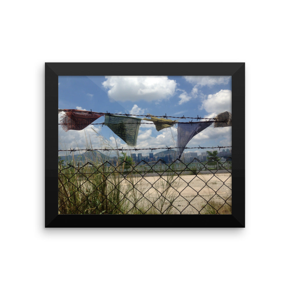 Freedom Style Study II - Framed photo paper poster showing Tibetan prayers Flags - Art Beauty Fashion
