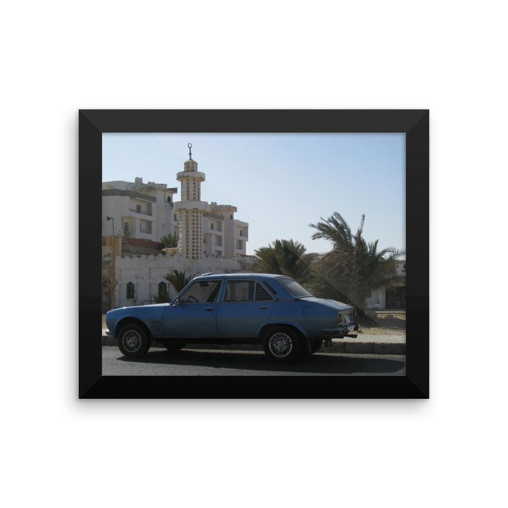 Classic vintage Car in front of Mosque - Framed photo paper poster for the Stylish Home - Art Beauty Fashion