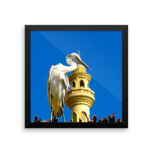 Fishbird in front of mosque Study Framed photo paper poster - Art Beauty Fashion