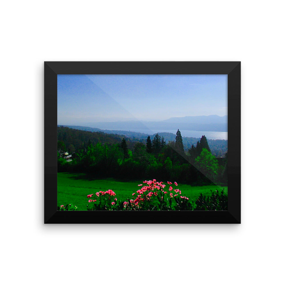 Zurich Nature Lake view in Summer - Framed photo paper poster - Art Beauty Fashion
