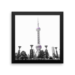 Shanghai Oriental Pearl Tower - Framed photo paper poster - Art Beauty Fashion
