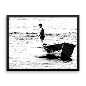 Black & White Fisherman Study - Framed photo paper poster - Art Beauty Fashion