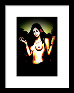 Naked Hawaii Woman - Framed Print - Art Beauty Fashion