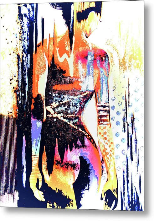 Naked Woman In Colour - Metal Print - Art Beauty Fashion