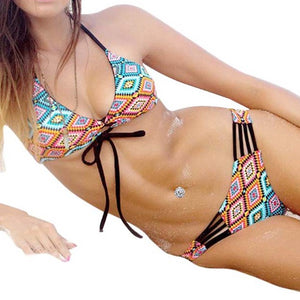 Women Swimsuit Beach Bath Suit Multi-rope Hollowing Women biquini With Shoulder Belt Bikini Set Top and Bottoms Swimwear 2018 - Art Beauty Fashion
