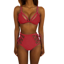Women High Waist Bandage Bikini Set Push-up Padded Bra Swimsuit Bathing Swimwear - Artphotography - NEW