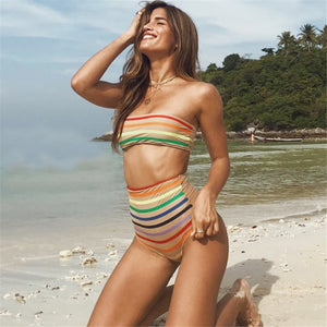 Women Swimwear Bikini Rainbow Stripe Print Push-Up Padded Bathing Swimsuit - Art Beauty Fashion