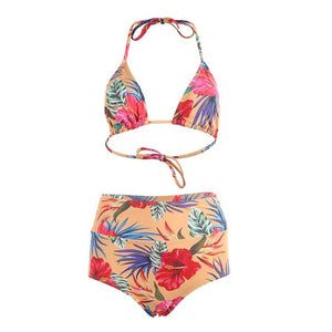 Women's Bikini Two Pieces Suit High Waist Swimsuit Sexy Floral Printed Summer Beach Swimwear Biquini Bathing Set for Girls - Art Beauty Fashion