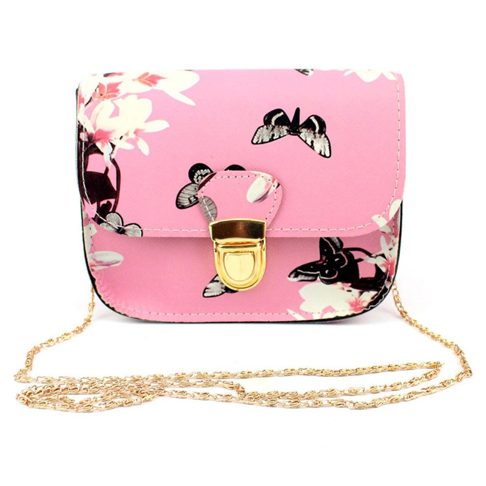 Women Butterfly Flower Printing Handbag Shoulder Bag Tote Messenger Bag - Artphotography - NEW