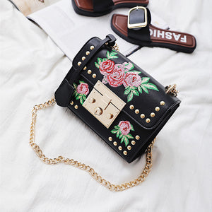 Women Messenger Bags Embroidery Rose Crossbody Shoulder Bags Chain Body Bags - Art Beauty Fashion