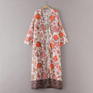 S-3XL 2018 Summer Boho Women Chiffon Long Kimono Cardigan Floral Print Beach Outerwear Loose Bikini Cover Up Long Top Plus Size - Art Beauty Fashion
