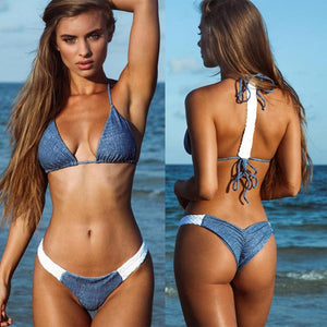 Sexy Women Patchwork Color Bikini Set Push up Padded Halter Tie Backless Swimsuit Brazilian Bikini Beach Two Piece Bathing Suit - Art Beauty Fashion