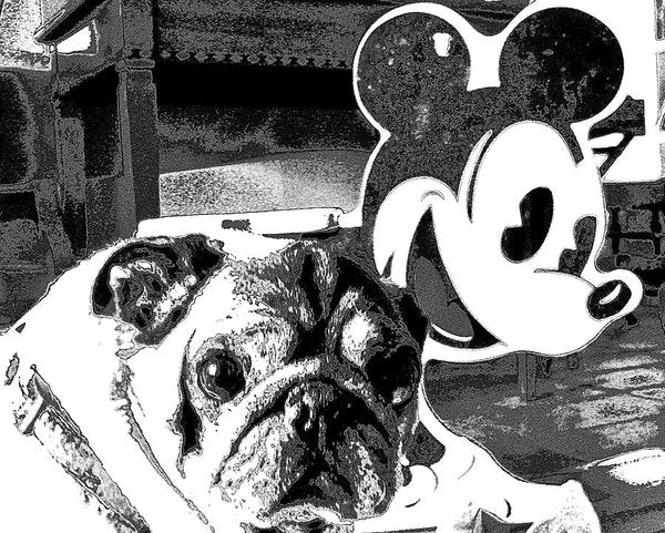 Pug And Mickey Mouse - Art Print - Art Beauty Fashion
