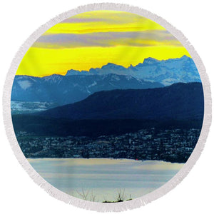 Switzerland Lake Study - Round Beach Towel - Art Beauty Fashion
