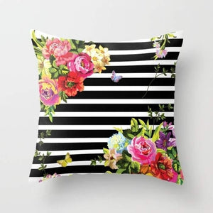Stripes Floral Cushion/Pillow - Art Beauty Fashion