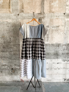 Swing Dress in Indigo and black