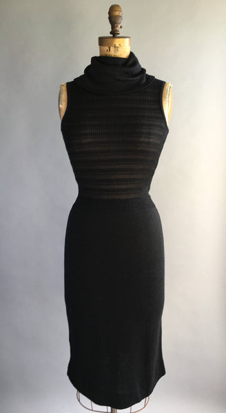 1970's Black Knit Cowl Dress