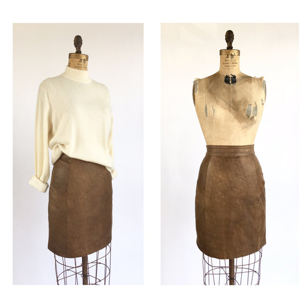 1980's Leather Bomber Pencil Skirt