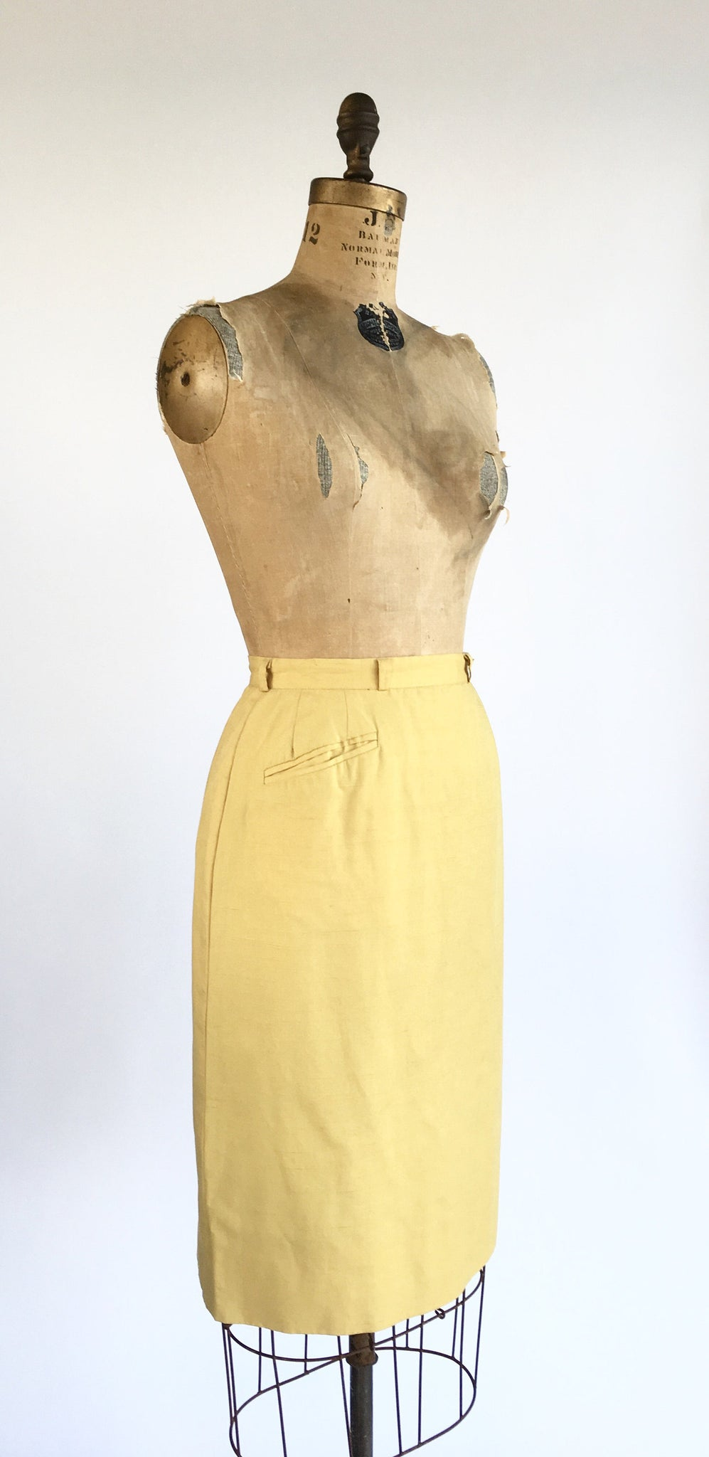 1950's Silk Shantung Pencil Skirt