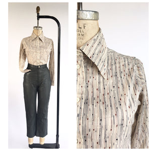 Vintage 1970's Women's Cotton Print Button Down Oxford Shirt