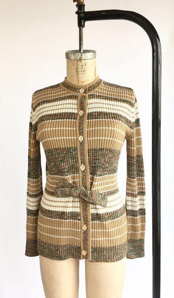 1970's Marled Stripe Tie Front Cardigan