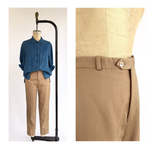 1970's High Waist Fawn Wool Trousers
