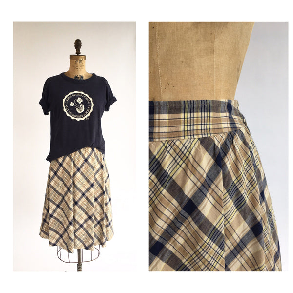 1970's Plaid Circle Skirt