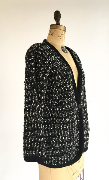 1980's Nubby Black and White Cardigan