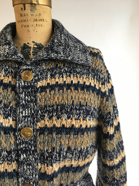 1970's Marled Tie Front Cardigan