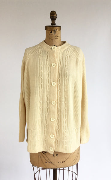1970's Buttercream Cable Knit Cardigan