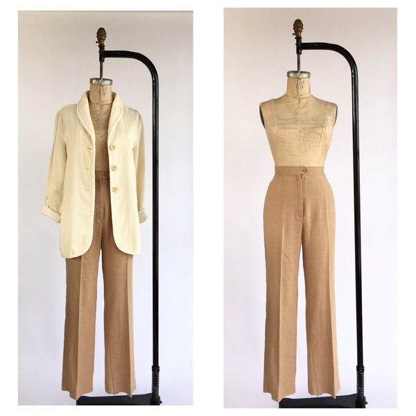 1970's High Waist Slubby Woven Trousers