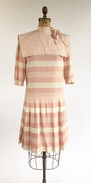 1980's Pink Striped Sailor Style Dress