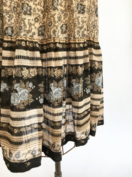 1970's Cotton Blend Paisley Smocked Sundress