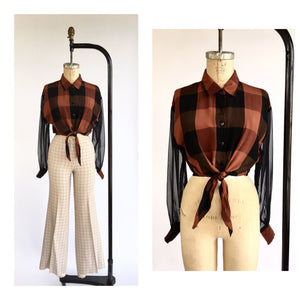 1990's Buffalo Plaid Cropped Tie Front Blouse