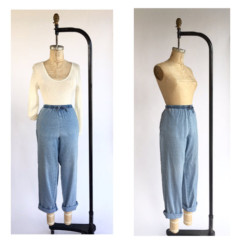 1990's Minimal Denim Drawstring Trousers