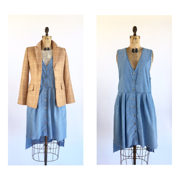 1990's Minimal Distressed Denim Jumper Dress