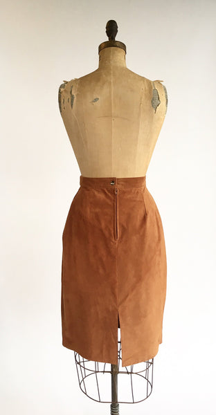 1980's Rust Suede Pencil Skirt