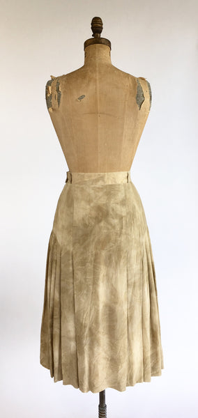 1990's Escada Pleated Panel Silk Skirt