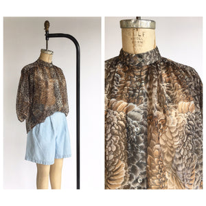 1970's Feather Print Poet Blouse