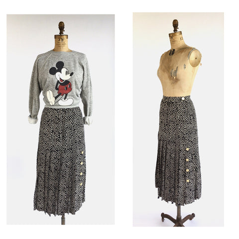 1980's Valentino Pleated Black and White Print Silk Midi Skirt