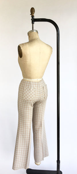 1970's Windowpane Plaid Flair Trousers