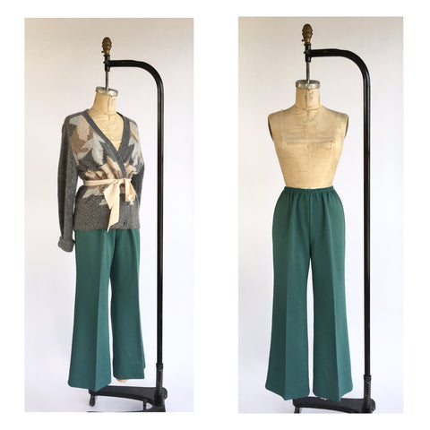 1970's Teal Stretch Trouser Bells