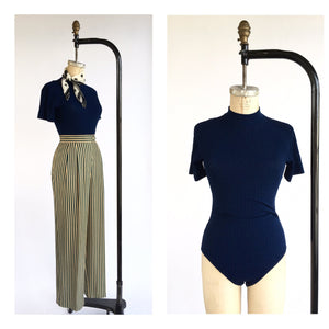 1970's Navy Ribbed Short Sleeve Bodysuit